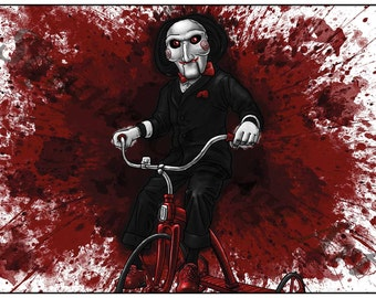 Billy the Puppet Saw Inspired A4 Horror Splash Print