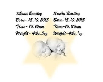 Twin Babies Birth Keepsake-Personalised  Metal Sign-Newborn Gift For New Parents.