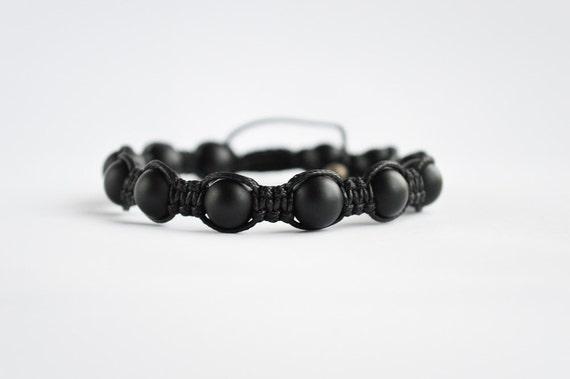 Mens Beaded Bracelet Onyx Shamballa Bracelet Black By