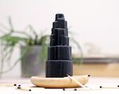 Black Cedarwood Scented Beeswax Candle // Selenite Crystal // Black Magic Mountain