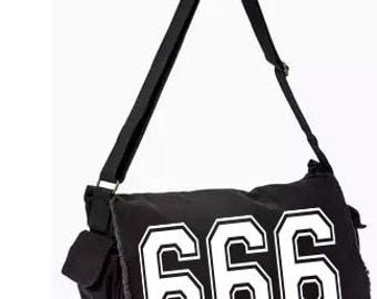 666 Evil Messenger Bag, Hand Screen Printed Cotton Canvas Messenger Bag,  Messenger Bag, Computer Bag,