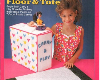 Fashion Doll Carry & Play FLOOR and TOTE, Plastic canvas patterns for Barbie travel play set by the Needlecraft Shop 933726.