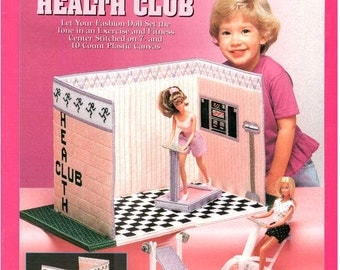 Fashion Doll Carry & Play HEALTH CLUB, Plastic canvas patterns for Barbie travel play set by Sandra Miller-Maxfield, Needlecraft Shop 943747