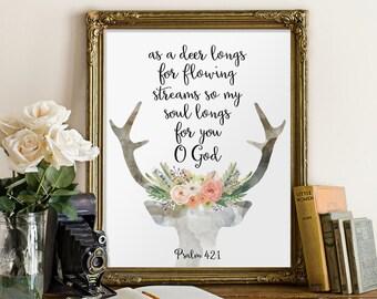 Psalm 42, Deer bible verse, Bible verse, Scripture print, Christian art, Bible quote , Home decor, Deer decoration, Psalm 42:1 BD-582