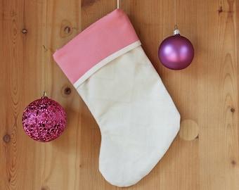 Christmas stocking Small Christmas sock White velvet stocking Christmas fireplace decor Christmas child gift Little sister gift