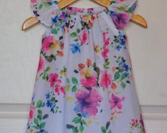 Girls Flutter Dress / Floral Bouquet