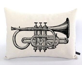 Trumpet pillow cover Brass Musician Music instrument Jazz Gift vintage art cushion 12x16 cotton canvas #103 FlossieandRay