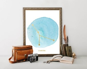"""Zodiac Constellation Printable ~ Cancer ~ Gold Foil and Blue Watercolor ~ 8x10"""" digital download ~ boho wall art ~ dorm decor poster"""