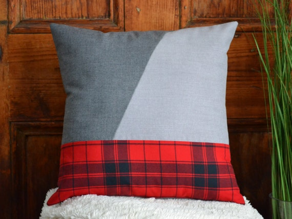 Modern Moose Pillows : Red plaid grey pillow Geometric modern rustic Pillow cover