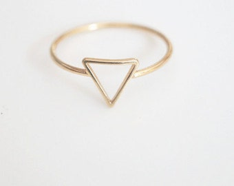 5pcs - SIMPLE Gold / Silver Plated Brass Triangle, Geometric Ring (J012)