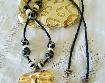 Tribal Golden Elephant and bone, agate and porcelain beads Necklace