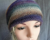 slouchy knit hat, woman beehive cap, fine knitted hat, purple brown multi cap, stripe womans beanie, light-weight beanie, soft stretchy cap