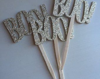 Gold Glitter Boo! Halloween Party Cupcake Picks
