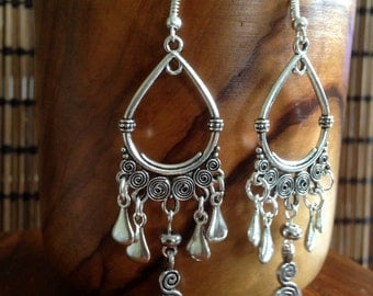 Long Dangle Tribal earrings • Spiral • Boho  • Bohemian • Gypsy  • Ethnic • Festival •  Hypoallergenic surgical steel hooks