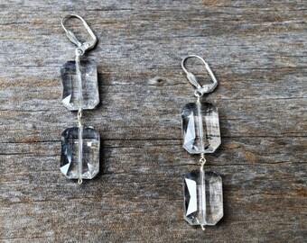Clear Crystal Dangle Earrings, Crystal Drop Earrings, Crystal Earrings, Clear Crystal Earrings, Wedding Earring