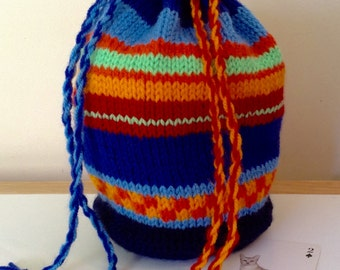 Hand knitted drawstring bag