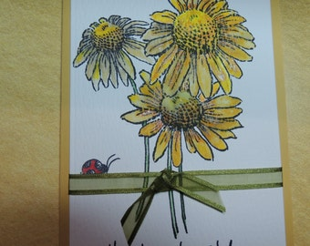 Thank You Card - Daisy Bunch And Ladybug