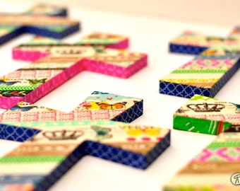 Washi Tape Cross Wall Art Religious 3D Collage