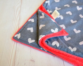 baby blanket, 24X30, stroller blanket, minky blanket for baby girl, pink minky baby blanket with hearts denim fabric