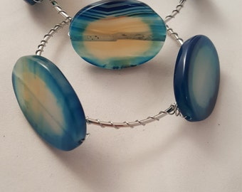 Blue Agate Stone Bangles - Blue Glass Oval Bracelets - Set of 2 Bangles - Wire Wrapped Bangle - Blue Bangle - Blue Stone Bangle - Bangle Set