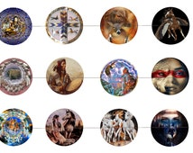 """Native American 1"""" Inch Bottle Cap Images Digital Download - 12 images for a 4 x 6 Sheet Size Native American Culture"""