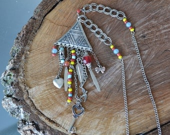 Tribal Necklace, Tassel Necklace, Silver Necklace, Boho Long Necklace, Tribal Pendant Ethnic Jewelry (608)