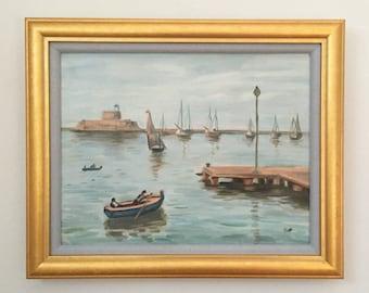 Blue Bay Impressionist Seascape Original Oil Painting Framed Signed