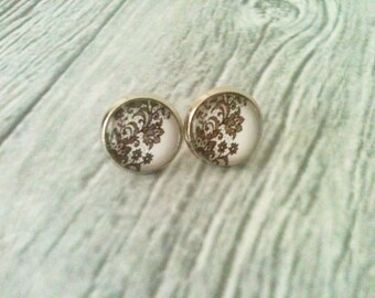 Lace earrings, lace pattern stud earrings, lace jewelry, gift idea for her, black and white