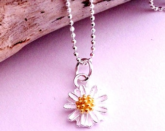 Tiny Flower Necklace In Sterling Silver On Sterling Silver Diamond Cut Chain