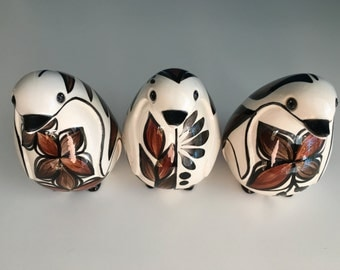 Vintage Handmade, Hand-painted Arnels Ceramic Birds(?) Trio in Warm White with Brown Flower Decoration