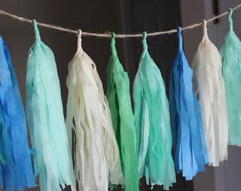 Seafoam Daze Tissue Paper Tassel Garland, Spring Color Tassel Garland, Wedding Tassel Garland, Cute Nursery Tassel Garland