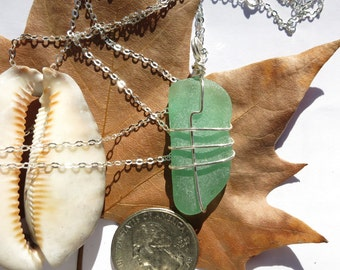 Aqua sea glass long necklace wrapped in silver wire, beach glass necklace