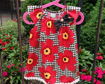 Red floweres girls dress, Baby Girl Peasant Dress, cotton dress, Summer dress, Birthday dress, Kids dress, children, toddler, gift idea