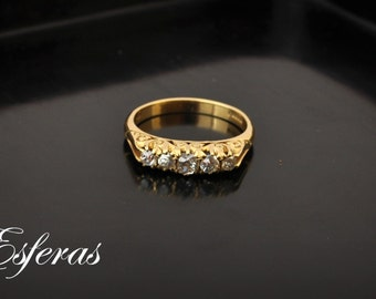 SALE! -15% Estate, vintage 18K yellow gold ring, old cut diamonds
