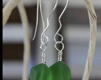 Hand wrapped sterling silver sea green earrings