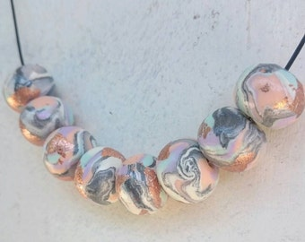 Pastel Marble Polymer Clay with Copper Necklace
