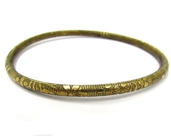 Vintage Hollow Brass Floral Patterned Bangle Bracelet, average wrist size