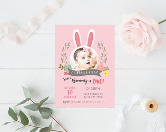 Some bunny is one /First Birthday Girl invitation- First Birthday Invitaion, Bunny Invitation, Baby Girl invitation, printable