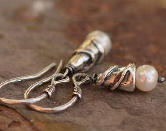 Freshwater Pearls wrapped in Sterling Silver Earrings