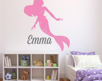 Name Wall Decal - Mermaid Wall Decal - Girls Wall Decal - Personalized Name Wall Decal - Mermaid Wall Art - Kids Vinyl Wall Decal