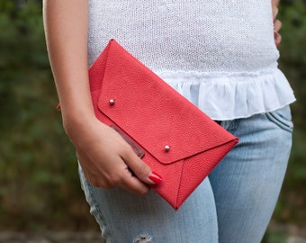 Leather womans clutch, leather clutch, red leather clutch, simple womans clutch, envelope clutch