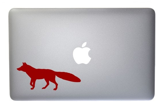 running fox vinyl decal for macbook laptop wall window. Black Bedroom Furniture Sets. Home Design Ideas