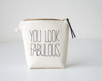 Personalized makeup bag FABULOUS. Bridesmaid gift. Makeup organizer. Brush case. Lined zipper pouch. Cosmetic bag for her. Wedding favor