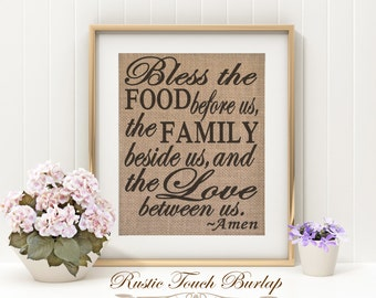 Bless the food before us, Burlap Kitchen Decor, Rustic Kitchen Decor, Cabin Kitchen decor, Country kitchen decor, Gift for mom. Burlap decor