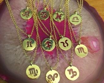 18K Gold Plated Zodiac Constellation Sign Necklaces (Aries Taurus Gemini Cancer Leo Virgo Libra Scorpio Sagittarius Capricorn Pisces)