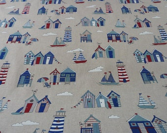 """Nautical - Seaside Fabric. Beach Huts - Boats Lighthouses - Natural Linen Look Canvas / Duck  - Furnishing, Crafts, Decor - 140cm 55"""" wide"""