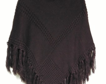 Turtlenecked Poncho With Fringes,    Boho Chic Cape,  Chocolate hand knitted poncho,Womens Clothing