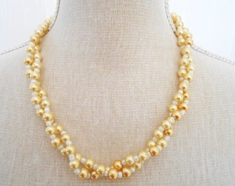 Gold pearl and white beads, wedding jewelry, bridesmaid gift, cheap gifts, trending necklace, birthday gift, gift shop