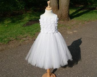 Girls white tulle flower girl dress with rosette bodice; White Flower Girl dress; girls white dress; White Communion Dress