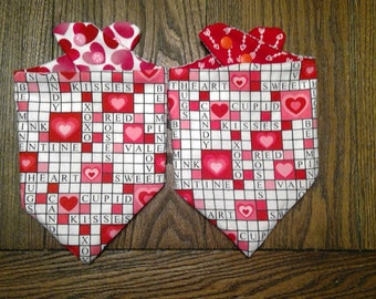 Valentine's Love Puzzle Bibdana Waterproof/Reversible for Infants and Toddlers Handmade